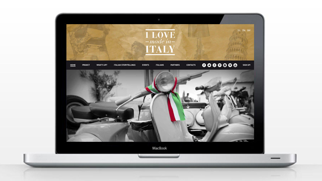Sitoweb - Homepage del sito I Love Made in Italy, cliente: Reboot Italy srl